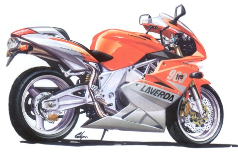 sketch of laverda 900 tre prototype